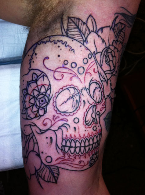skull half sleeve tattoos